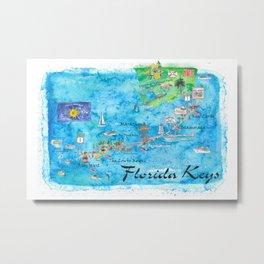 Florida Keys Key West Marathon Key Largo Illustrated Travel Poster Favorite Map Tourist Highlights Metal Print