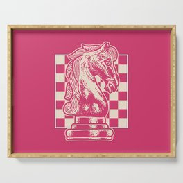 Chessboard Knight on Raspberry Sorbet Serving Tray