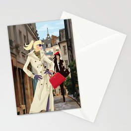 Paris Shopping Girls Stationery Cards