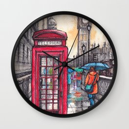 Rainy day in London ink & watercolor illustration Wall Clock