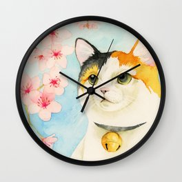 """Hanami"" - Calico Cat and Cherry Blossom Wall Clock"