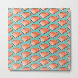 Salmon Fish Fillet Fiesta, Seafood on Teal Metal Print