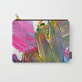 An Artist's Colorful Paint Palette with Rainbow Paint Smears  Carry-All Pouch