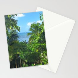 St Lucia View to Sailboat at Sea Stationery Cards