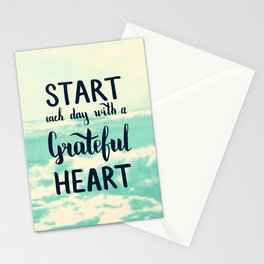 Start each day with a grateful heart Text on sea photo Stationery Cards