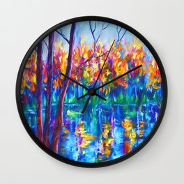 The River Song Painting by OLena Art Wall Clock