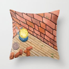 Watercolor Illustration of a worker building a wall Throw Pillow