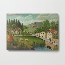 Pastoral landscape with stream, fisherman and stroller Metal Print
