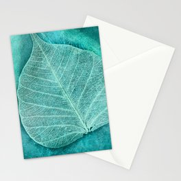 Turquoise Leaf 2 Stationery Cards