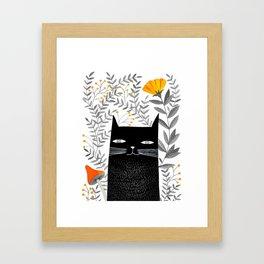 black cat with botanical illustration Framed Art Print