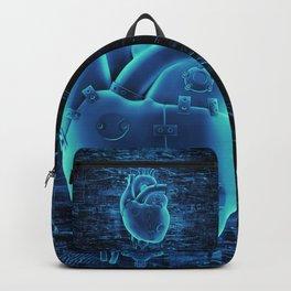 Gamer Heart BLUE TECH / 3D render of mechanical heart Backpack