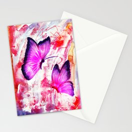 Pink Butterflies on Mixed Media Background Stationery Cards