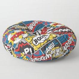 Modern Comic Book Superhero Pattern Color Colour Cartoon Lichtenstein Pop Art Floor Pillow