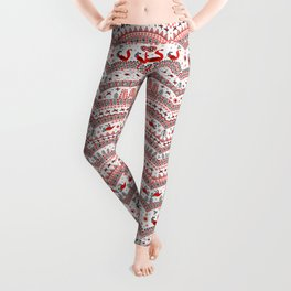 Mezen painting. Floating and flying birds, fir trees, sun signs, semicircular ornaments. Leggings