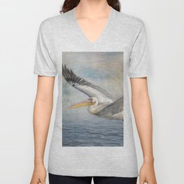 Flight of a Great White Pelican Unisex V-Neck