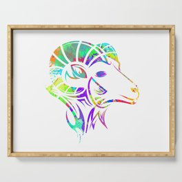 Colorful Ibex Goat Art Serving Tray