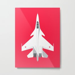 Su-30 Flanker Fighter Jet Aircraft - Crimson Metal Print
