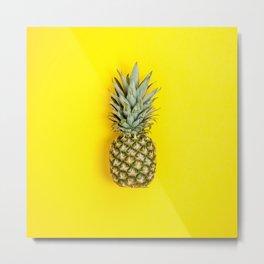 Pineapple on yellow background Metal Print