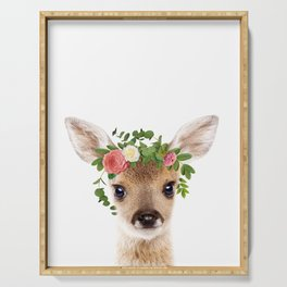 Baby Deer With Flower Crown, Baby Animals Art Print By Synplus Serving Tray