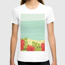 Hibiscus Beach - Red Tropical Flowers  T-shirt