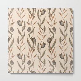 Poppy Pod Pattern Metal Print
