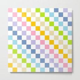 Checkered Pastel Rainbow Metal Print