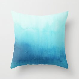 Modern teal sky blue paint watercolor brushstrokes pattern Throw Pillow