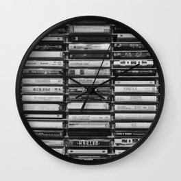 Cassette Tapes Pattern (Black and White) Wall Clock