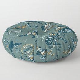 Vintage Ocean Pattern Floor Pillow