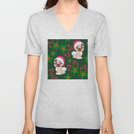 Cute, Cranky Christmas Puppies With Eyelash Extensions Pattern Unisex V-Neck