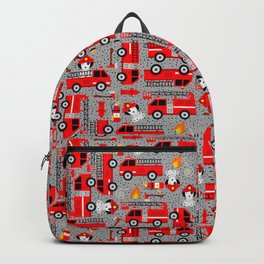 Kids Firetruck Dalmatian Dog Firefighter Pattern Gray Backpack
