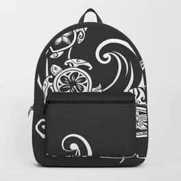 White Beach Please Turtle Collage Backpack