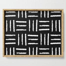 Simple mudcloth pattern - black Serving Tray