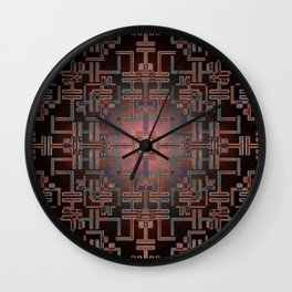 Sacred Circuits Mandala Electric Rose Gold Wall Clock