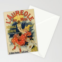 Vintage French lamp oil ad by Chéret Stationery Cards