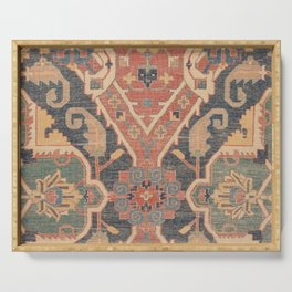 Geometric Leaves IV // 18th Century Distressed Red Blue Green Colorful Ornate Accent Rug Pattern Serving Tray