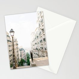 Parisian buildings in Montmartre, Paris, France | Montmartre staircase in Paris, France | Fine Art Travel Photography Stationery Cards