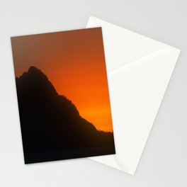 Tangerine Sunset Over Mountain Peak In Luxurious Silhouette  Stationery Cards