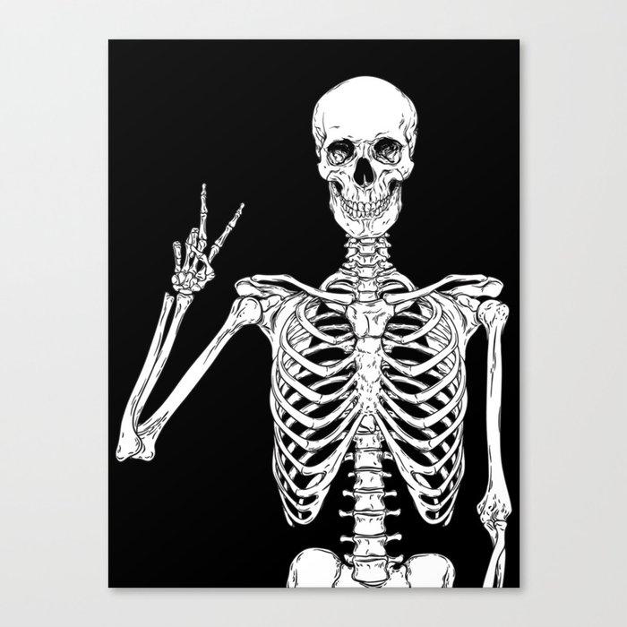 Human skeleton posing isolated over black background vector illustration Leinwanddruck