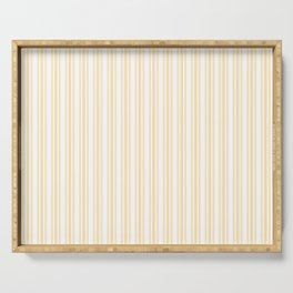 Trendy Large Buttercup Yellow Pastel Butter French Mattress Ticking Double Stripes Serving Tray