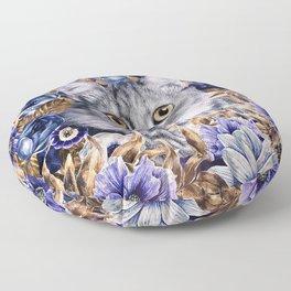 Cat in Flowers. Autumn Floor Pillow