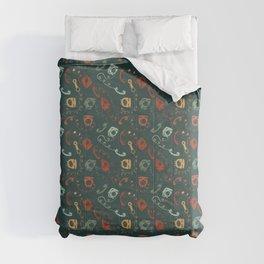Retro Telephones TurquoiseRed Comforters