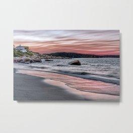 Pink Sunset on the beach Metal Print