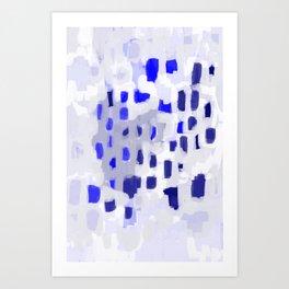 Symba - abstract painting dorm college decor art dots indigo blue grey modern canvas art Art Print
