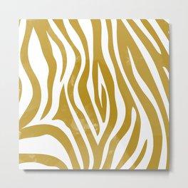 Mustard Zebra Metal Print