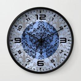 Classic Blue Swirls Damask 10 Wall Clock