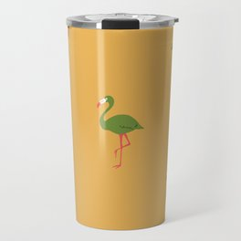Gold Tropical Flamingo Pattern Travel Mug
