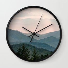 Smoky Mountain Pastel Sunset Wall Clock