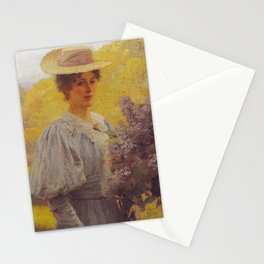 Hans Gude Painting -  Ung Dame Med Syriner 1897  | Reproduction | Norwegian Art Stationery Cards