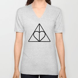 The Deathly Hallows - Heart Unisex V-Neck